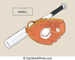 A collection of illustrated baseball elements vector.