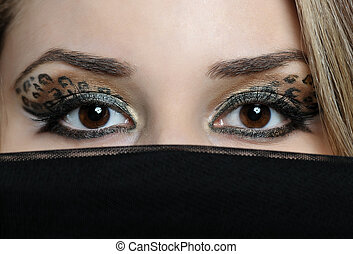 eyes of beautiful eastern woman - close up eyes of beautiful...