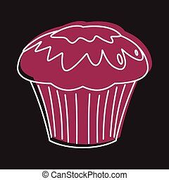 Cupcake bakery product in doodle style icons vector illustration for design