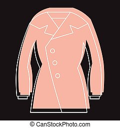 Overcoat in doodle style icons vector illustration for design and web isolated
