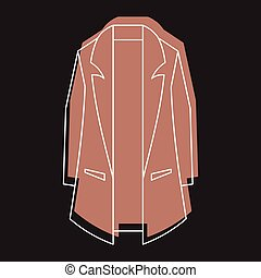 Brown overcoat in doodle style icons vector illustration for design and web isolated