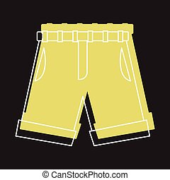 Yellow shorts in doodle style icons vector illustration for design and web isolated