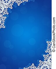 Blue Background with Snowflakes in Border. Space for Text