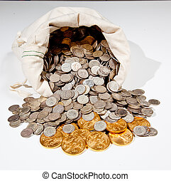 Bag of silver and gold coins - Linen bag of old pure silver...