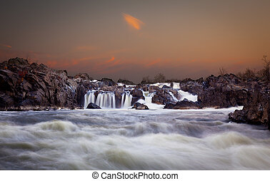 Great Falls at dusk - Waterfalls on the Potomac river near...