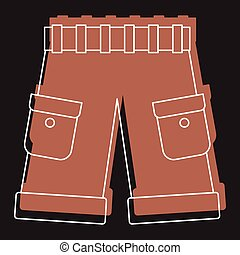 Men shorts in doodle style icons vector illustration for design and web isolated