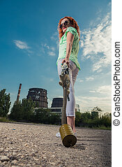 Global warming. A girl in a gas mask on the background of a...