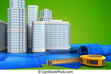 3d with urban scene - 3d illustration of ruler with urban...