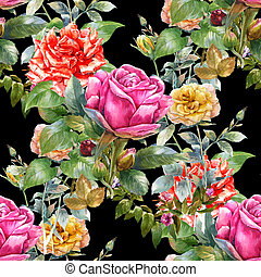 Watercolor painting of leaf and flowers,rose, seamless pattern