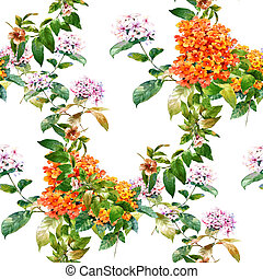 Watercolor painting of leaf and flowers, seamless pattern on white