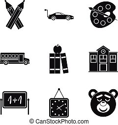 Morning icons set, simple style
