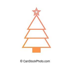 plat, kleurrijke, helling, boompje, vector, kerstmis, pictogram
