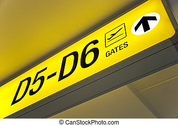 Airport sign - Detailed view of yellow airport sign showing...