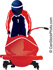 bobsled - vectors illustration shows a moving bobsleigher