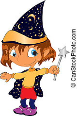 sorceress - vectors illustration shows a child dressed as...