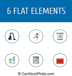 Flat Icons Housewife, Garbage Container, Laundromat And Other Vector Elements. Set Of Cleaning Flat Icons Symbols Also Includes Vacuuming, Means, Cleaning Objects.