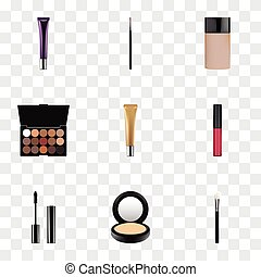 Realistic Day Creme, Multicolored Palette, Brush And Other Vector Elements. Set Of Greasepaint Realistic Symbols Also Includes Face, Blush, Brush Objects.