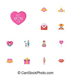 Happy Mother's Day Flat Icon Layout Design With Kiss, Sticker And Son Symbols. Lovely Mom Beautiful Feminine Design For Social, Web And Print.