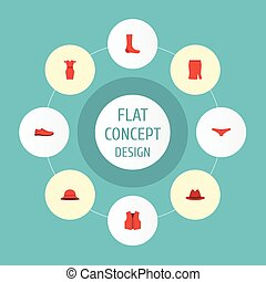 Flat Icons Hosiery, Fedora, Waistcoat And Other Vector...