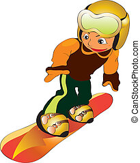 child in snowboard - vectors illustration shows a child...