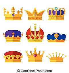 Golden crowns of kings, prince or queen. Vector illustrations set in cartoon style