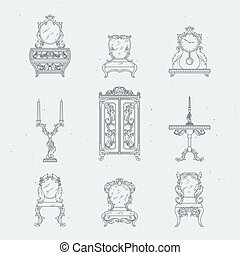 Home antique furniture chairs, dresser, bedside table, mirror. Vector hand drawing illustrations in baroque style