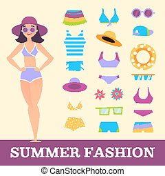 Beach fashion. Girl and miscellaneous clothes accessories. Cartoon style