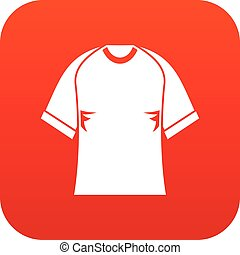 Raglan tshirt icon digital red for any design isolated on...