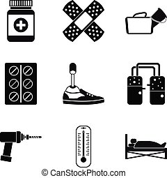 Medical man icons set, simple style