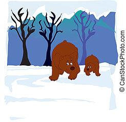 bears in woods - vectors illustration shows two bears in the...