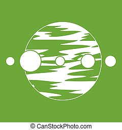 Planet and moons icon green - Planet and moons icon white...