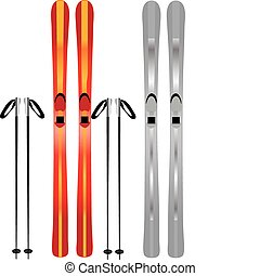 ski - vectors illustration shows skis and poles