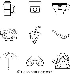 Snack to alcohol icons set, outline style