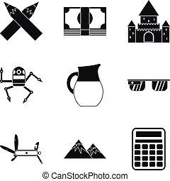 Wakening icons set, simple style