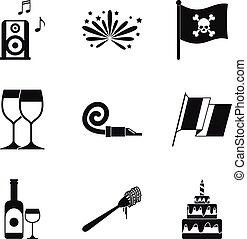 Hooch icons set, simple style - Hooch icons set. Simple set...
