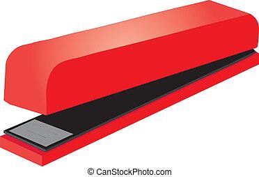 stapler - vectors illustration shows a red stapler - paper