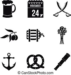 Rom icons set, simple style - Rom icons set. Simple set of 9...