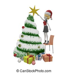 3d girl with Christmas tree