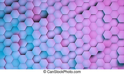 Hexagon textures with blue and purple light. 3D render