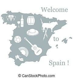 Vector illustration with various symbols of Spain. Travel...