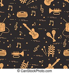 Vector pattern of sheet music and different musical toys:...
