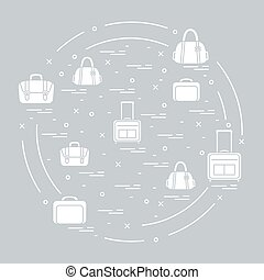 Vector illustration with different bag and suitcases for...