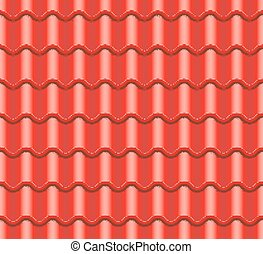 Red Corrugated Tile Vector. Element Of Roof. Seamless Pattern. Ceramic Tiles. Fragment Of Roof Illustration.
