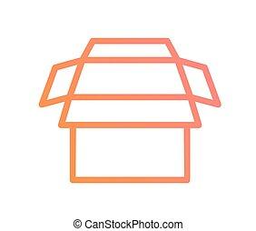 roze, doosje, helling, expeditie, aflevering, vector, sinaasappel, lijn, pictogram