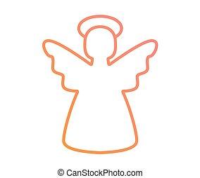 roze, engel, kleurrijke, helling, vector, sinaasappel, lijn, kerstmis, pictogram