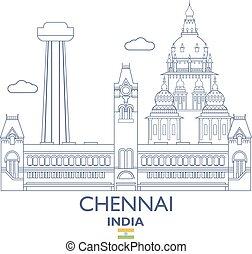 Chennai City Skyline, India - Chennai Linear City Skyline,...