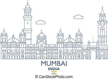 Mumbai City Skyline, India - Mumbai Linear City Skyline,...
