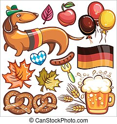 Oktoberfest vector set of icons and objects