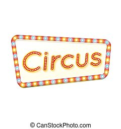 Circus retro light frame. Advertising glowing sign. Red street signboard with yellow and blue marquee lights. Colorful vector illustration.