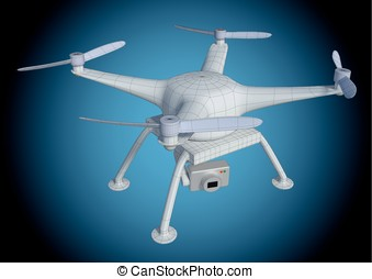 wireframe white drone from above - Wireframe illustration of...